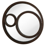 Majestic Mirror Contemporary Antique Rust Round Gear Accent Hanging Wall Mirror