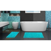 Popular Bath Products 2 Piece Chenille Bath Rug Set; Turquoise