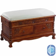 International Caravan Windsor Hand Carved Wood Storage Bench