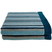 Simple Luxury Superior Stripes 100pct Cotton Bath Towel (Set of 2); Seafoam