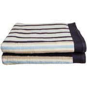 Simple Luxury Superior Stripes 100pct Cotton Bath Towel (Set of 2); Blue