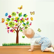 Kids Play Home Butterfly Birds Tree Wall Decal