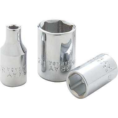 Gray Tools 6 Point, Standard Length, Chrome Finish Sockets