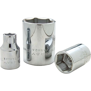 Gray Tools 12 Point Standard Length, Chrome Finish Sockets, Drive size: 1/2