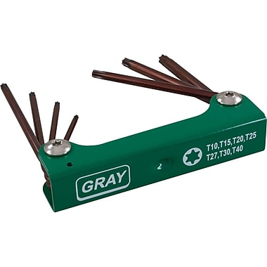 Gray Tools 7 Piece S2 Long Torx, Folding Hex Key Set, T10-T40