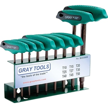 Gray Tools 9 Piece Torx S2 T-handle, Hex Key Set, T10-T50