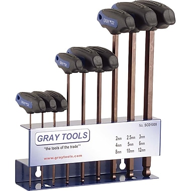 Gray Tools 9 Piece Metric S2 T-handle Ball End, Hex Key Set, 2mm-12mm