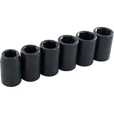 Gray Tools 6 Piece 6 Point Metric, Standard Length Impact Socket Set, 13mm-18mm