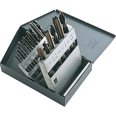 Gray Tools 18 Piece Tap & Drill Set, 9 Taps 6-32 To 1/2