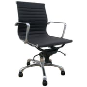 Creative Images International Low Back Leatherette Office Chair with Chrome Base; Black