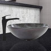 Vigo Gray Onyx Glass Vessel Bathroom Sink and Blackstonian Vessel Faucet with  Matte Black
