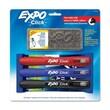 EXPO Click Dry Erase Marker Starter Set, Eraser/Wipes/Markers, Chisel, Asstd, 3/Set