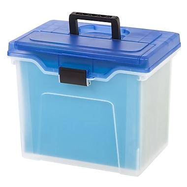 Staples® Handy File Box, Letter Size, Clear w/Blue Lid (110971)
