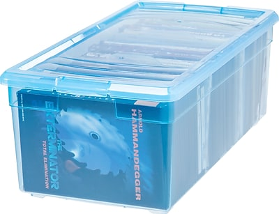 IRIS 21 Quart Media Storage Box, Transparent Blue, 6 Pack (166073)