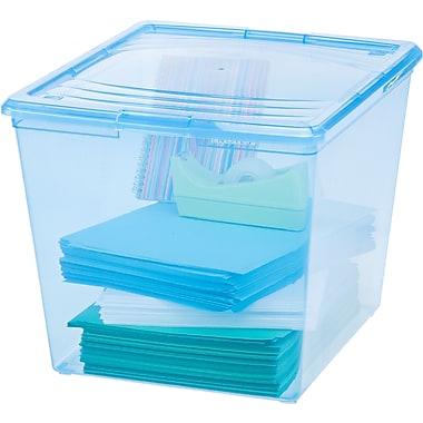 IRIS® 34 Quart Deep Storage Box, Transparent Blue, 10 Pack (101528)
