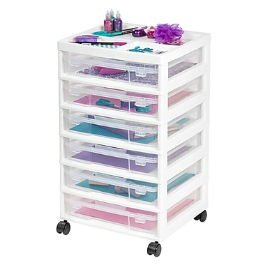 IRIS® 6-Case Scrapbook Cart with Organizer Top, White, 2 Pack (150815)