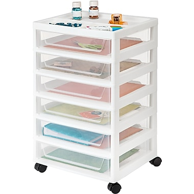 IRIS® 6-Drawer Scrapbook Cart with Organizer Top, White, 2 Pack (150692)