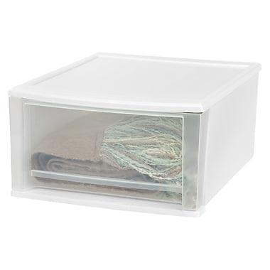 IRIS® 32 Quart Large Stacking Drawer, White, 2 Pack (129802)