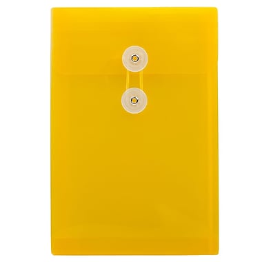 JAM Paper® Plastic Envelopes with Button and String Tie Closure, Open End, 6.25 x 9.25, Yellow Poly, 12/pack (472B1YE)