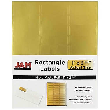 JAM Paper® Mailing Address Labels, 1 x 2 5/8, Matte Gold Foil, 120/pack (4074937)