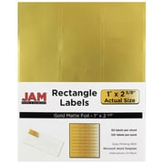 "Jam Paper 2.62"" x 1"" Laser Mailing Address Labels, Matte Gold, 4/Pack (4074937)"