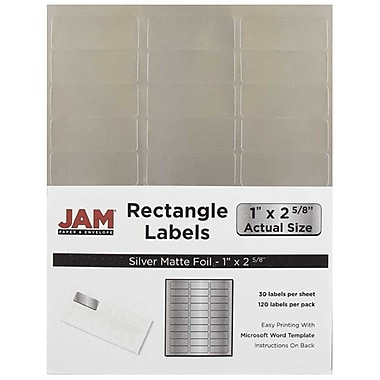 JAM Paper® Mailing Address Labels, 1 x 2 5/8, Matte Silver Foil, 120/pack (4074938)