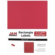 "Jam Paper 1"" x 2.62"" Inkjet/Laser Mailing Address Labels, Red, 4/Pack (4514939)"