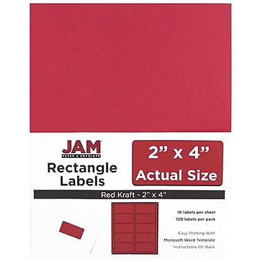 JAM Paper® Mailing Address Labels, 2 x 4, Red, 12/Pack (4514940)