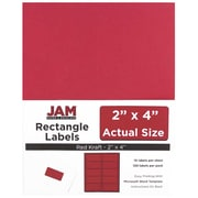 "Jam Paper 2"" x 4"" Inkjet/Laser Mailing Address Labels, Red, 12/Pack (4514940)"