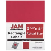 "Jam Paper 3.33"" x 4"" Inkjet/Laser Mailing Address Labels, Red, 20/Pack (14516067)"