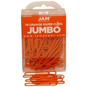 JAM Paper® Jumbo Colored Paper Clips, Orange, 75/Pack
