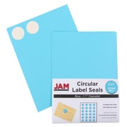 "Jam® Paper 1 1/2"" Circle Label Sticker Seal, Blue, 24 Labels per Page, 120/Pack"