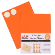 "Jam® Paper 1 1/2"" Circle Label Sticker Seal, Orange, 24 Labels per Page, 120/Pack"
