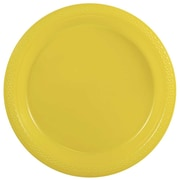 "JAM Paper® Small Round Plastic 7"" Plates, Yellow, 25/Pack"
