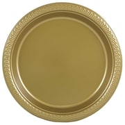 "JAM Paper® Small Round Plastic 7"" Plates, Gold, 20/Pack"