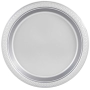 "JAM Paper® Small Round Plastic 7"" Plates, Silver, 25/Pack"