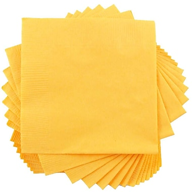 JAM Paper® Small Beverage Napkins, Small, 5 x 5, Yellow, 50/Pack (255621944)