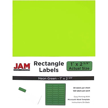 jam paper mailing address labels 1 x 2 5 8 neon green 120 pack