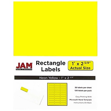 jam paper mailing address labels 1 x 2 5 8 neon yellow 120 pack