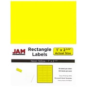 "Jam Paper 1"" x 2.63"" Inkjet/Laser Mailing Address Labels, Neon Yellow, 4/Pack (354328008)"