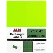 "Jam® Paper 2"" x 4"" Address Label, Neon Green, 10 Labels per Page, 120/Pack"