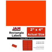 "Jam® Paper 2"" x 4"" Address Label, Neon Red, 10 Labels per Page, 120/Pack"