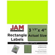 "Jam® Paper 3 1/3"" x 4"" Address Label, Neon Green, 6 Labels per Page, 120/Pack"