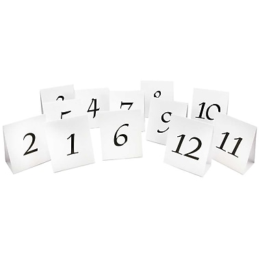 JAM Paper® Table Number Tent Cards, White and Black #1-#12, 12/pack (2226016896)