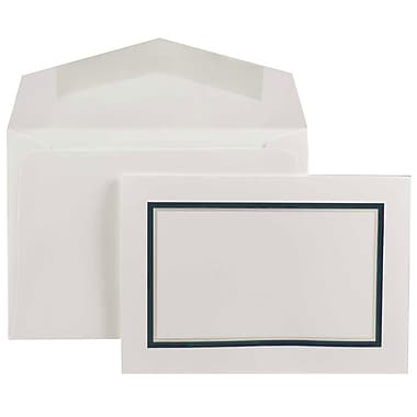 JAM Paper® Small Foldover Cards w/Matching Envelopes Stationery Set, Navy Blue Border, 100/Set