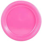 "JAM Paper® Small Round Plastic 7"" Plates, Pink, 20/Pack"
