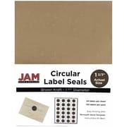 JAM Paper® Round Circle Label Sticker Seals, 1 2/3 inch diameter, Brown Kraft, 120/pack (3147612192)