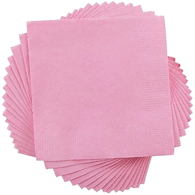 JAM Paper® Square Lunch Napkins, Medium, 6.5 x 6.5, Baby Pink. 50/pack (6255620714)