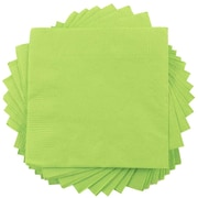 "JAM Paper® Small Beverage Napkins, 5"" x 5"" Lime Green, 50/Pack"