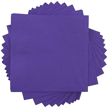 JAM Paper® Square Lunch Napkins, Medium, 6.5 x 6.5, Purple, 50/pack (6255620728)